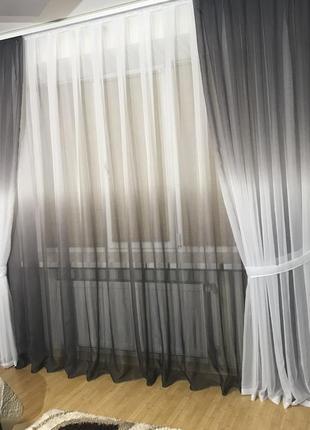 Комплект штор шифон  растяжка на 3х метровый карниз  серый