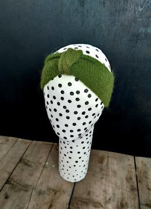Зеленая хаки повязка на голову вязаная