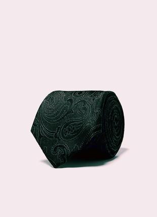 Широкий жаккардовый галстук с узором пейсли1 фото