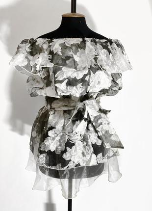 Блузка из органзы с цветочным принтом