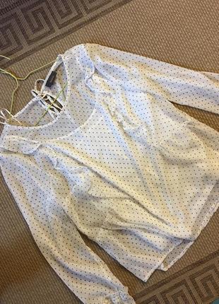 Шикарная блуза с рюшами в мелкий горох бохо