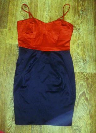 Коктейльное красно-черное платье