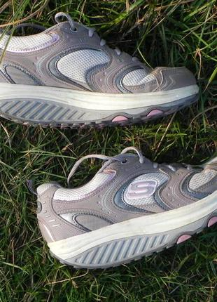 Skechers shape ups кожа кроссовки серые фитнес