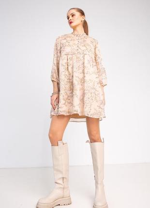 Платье женское короткое мини персиковое цветочное