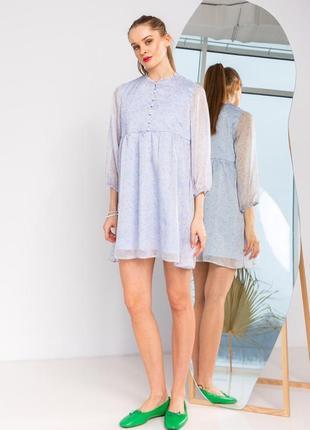 Платье женское короткое мини голубое цветочное шифон