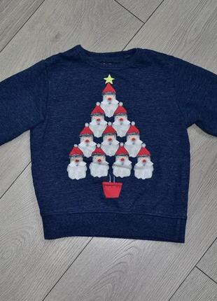 Новогодний свитшот пуловер санта клаус на 3-4 года next