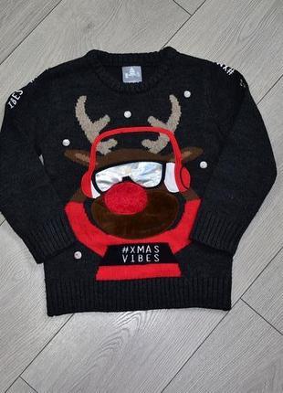 Теплый новогодний свитшот кофта пуловер свитер с оленем на 4-5 лет george