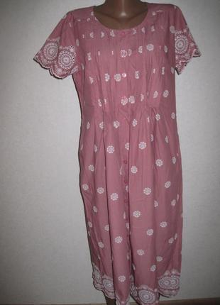 Хлопковое платье халат рубашка lily ena размер12