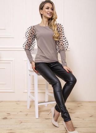 Блуза прозрачные рукава горошек
