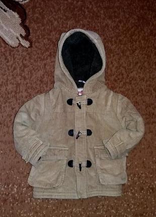 Мега крутое пальто (парка, куртка) вельветовое adams 92, 18-24 мес