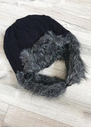 Классная тёплая двусторонняя вязаная меховая шапка ушанка
