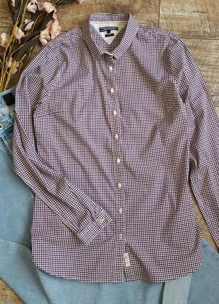 Женская рубашка tommy hilfiger гусиная лапка из хлопка