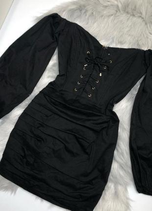 Платье oh polly 10 c m, коттоновое мини с рукавами с шнуровкой