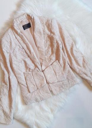 H&m милейший кружевной блейзер бежевый пиджак жакет кардиган кружево