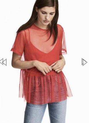 Футболка блуза сетка с рюшами h&m м