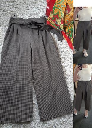 Шикарные широкие штаны/кюлоты в мелкую клетку, zara,  p. l-xl