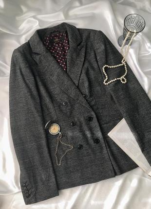 Пиджак двубортный трендовый в клетку длинный жакет блейзер оверсайз