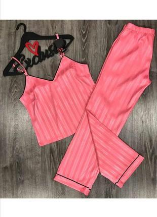 Рожева піжама для сну пижама штаны и майка розовая для дома