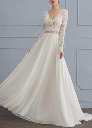 Свадебное платье а-силуэт бохо с длинным рукавом v-вырезом шифоновой юбкой 2586