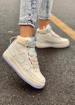 Кроссовки женские найк nike air force 1 utility sportswear cream high