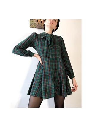 Платье клетка мини скейтер рубашка приталенный зелёное винтаж