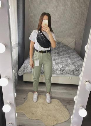 Новые фисташковые брюки стрейч