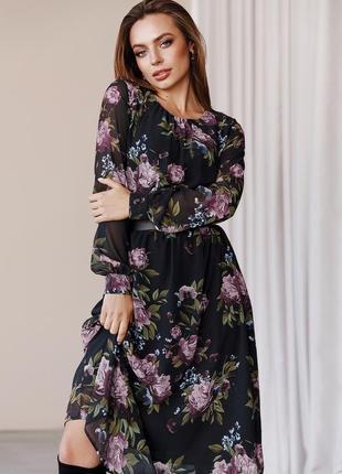 Роскошное шифоновое платье в цветочный принт сукня шифонова з шифону чёрное