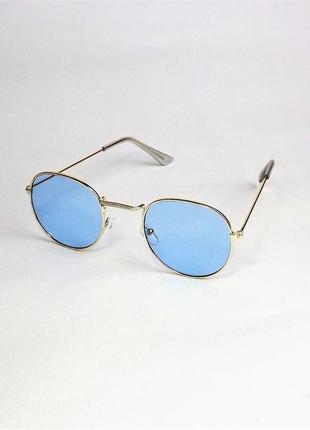 Очки солнцезащитные круглые тишейды голубые 1222