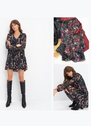 Ярусное платье мини с цветочным принтом шифоновое крупные цветы