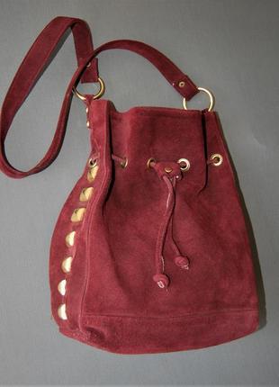 Замшевая сумка-мешок, длинная ручка, бордо
