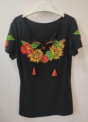 Футболка вышиванка черная, блуза украинская вышиванка