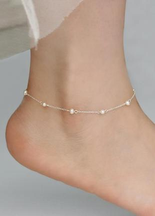 Браслет на ногу з натуральними перлинами / браслет на ногу с натуральным жемчугом