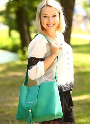 Модная зеленая сумка на плечо новая брендоваяпрактичная классическая