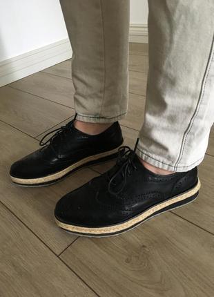 Туфли лоферы оксфорды чёрные танкетка платформа кожзаменитель очень крутые брендовые