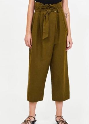 Широкие брюки кюлоты палаццо  с имитацией запаха zara