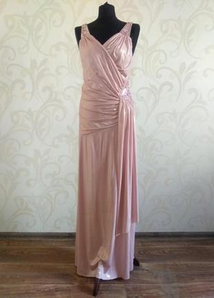 Распродажа. платье (может быть свадебным) в пол из трикотажа с посеребрением. разм 50-52