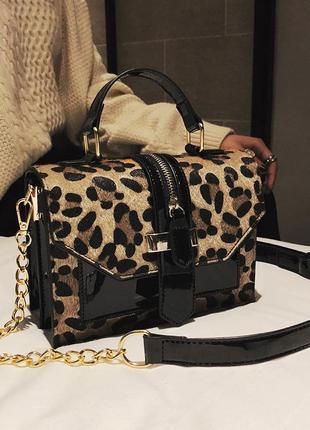 Крутая леопардовая сумка zara