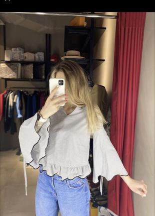 Шикарня блуза с объёмными рукавами, рубашка с рюшами, блузка в полоску