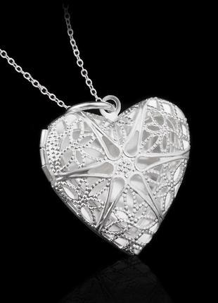 Медальон -подвеска на цепочке, стерлинговое серебро 925 пробы