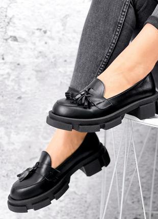 Туфли-броги женские beti черные кожа