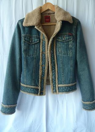 Куртка джинсовая шерпа на меху /эко-мех/