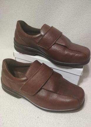 Ортопедические кожаные туфли полуботинки на липучках