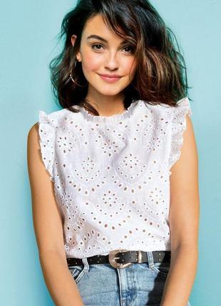 Классная  блузка хлопковая топ винтажный стиль прошва new look