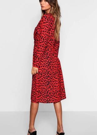 Красное роковое лепародовое платье с переплётом 💃8 фото