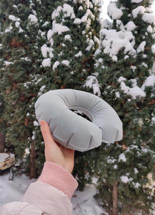 Надувная дорожная подушка, подушка под шею, подушка в дорогу2 фото