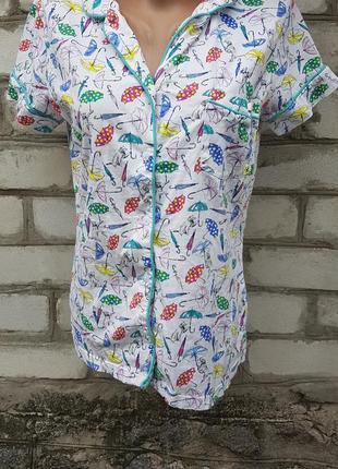Пижамная футболка с оригинальным рисунком коты собаки зонтики
