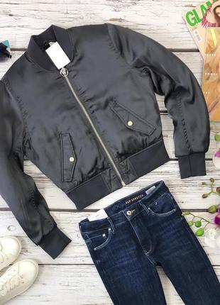 Трендовая куртка-бомбер с косыми карманами   ow3649  h&m