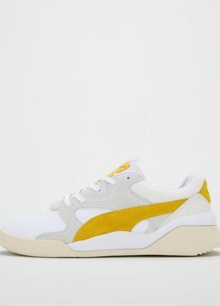 Яркие молодежные кроссовки кеды сникерсы puma желто белого цвета  оригинал!!!7 фото