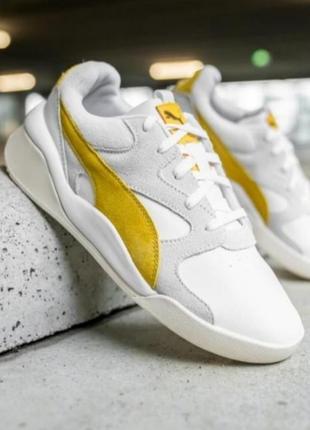 Яркие молодежные кроссовки кеды сникерсы puma желто белого цвета  оригинал!!!9 фото