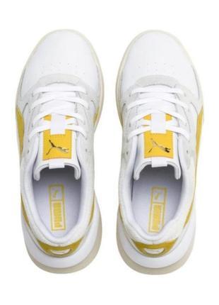 Яркие молодежные кроссовки кеды сникерсы puma желто белого цвета  оригинал!!!2 фото
